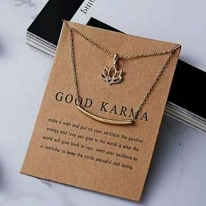 """New """"Good Karma"""" Pendant Double Chain Necklace"""